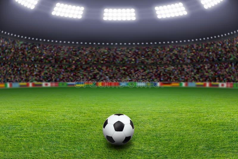 Voetbalbal, stadion, licht royalty-vrije stock foto's