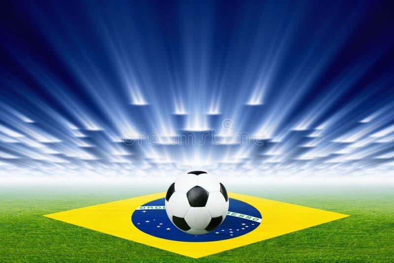 Voetbalbal, stadion, schijnwerpers stock illustratie