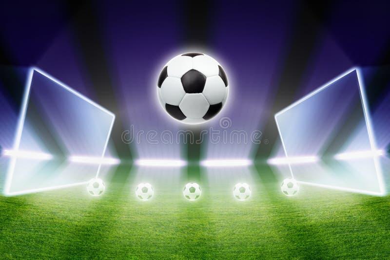 Voetbalbal, stadion, schijnwerpers vector illustratie