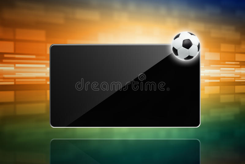 Voetbalbal, tabletcomputer royalty-vrije illustratie