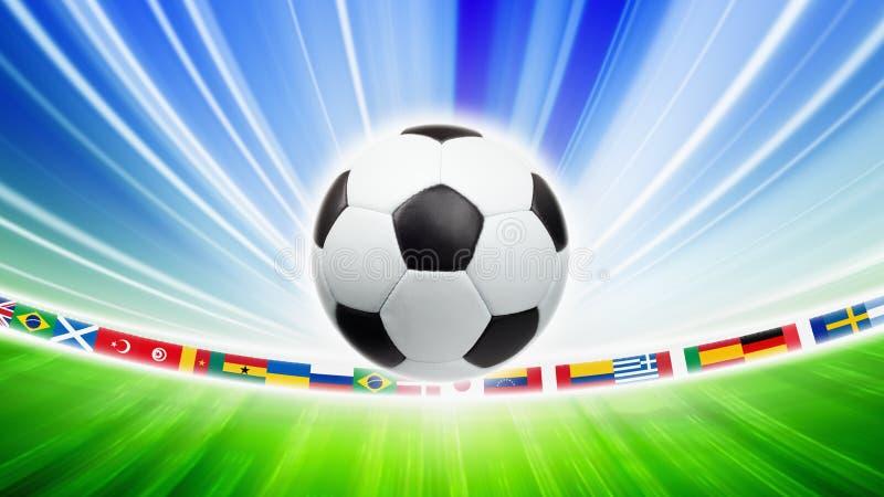Voetbalbal, vlaggen vector illustratie