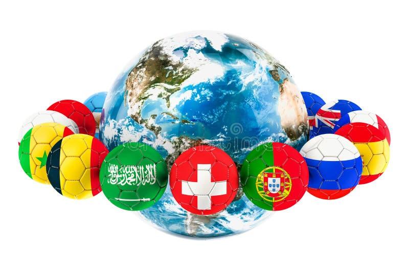 Voetbalballen met vlaggen rond de Aardebol, het 3D teruggeven royalty-vrije illustratie