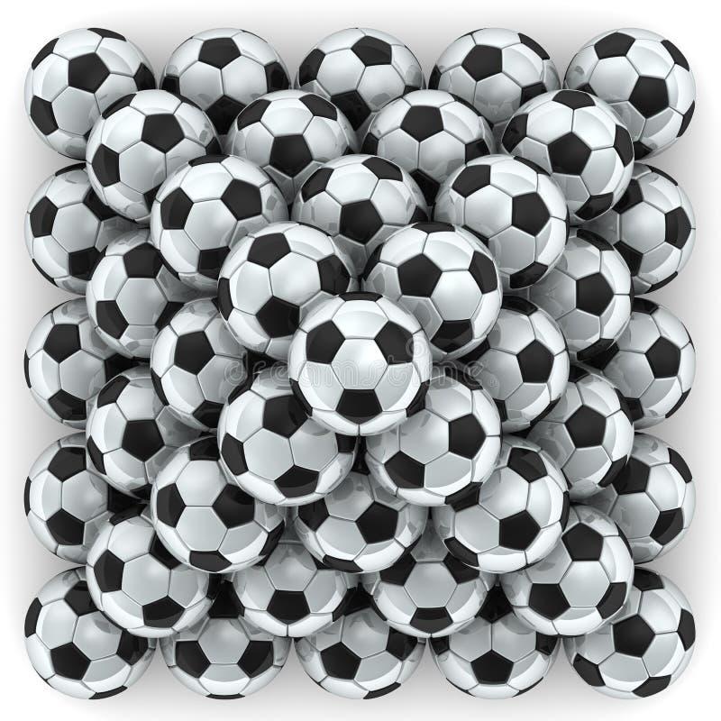 Voetbalballen in vorm van piramide worden opgestapeld die royalty-vrije illustratie