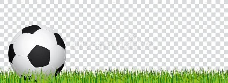 Voetbalbanner Het gras van het voetbalstadion en transparante achtergrond Kopbal met voetbalbal op de linkerkant vector illustratie