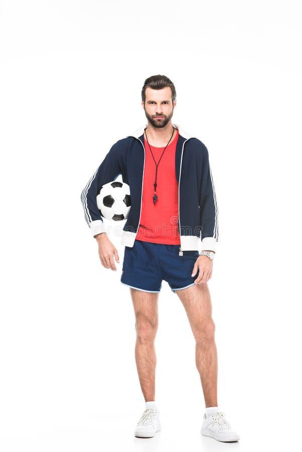voetbalbus het stellen met bal, stock afbeeldingen