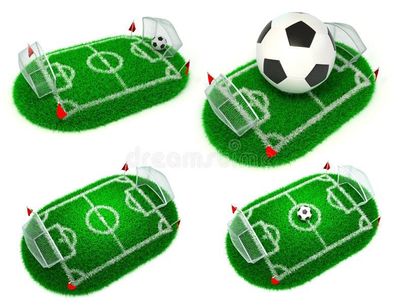 Voetbalconcepten - Reeks 3D Illustraties stock fotografie