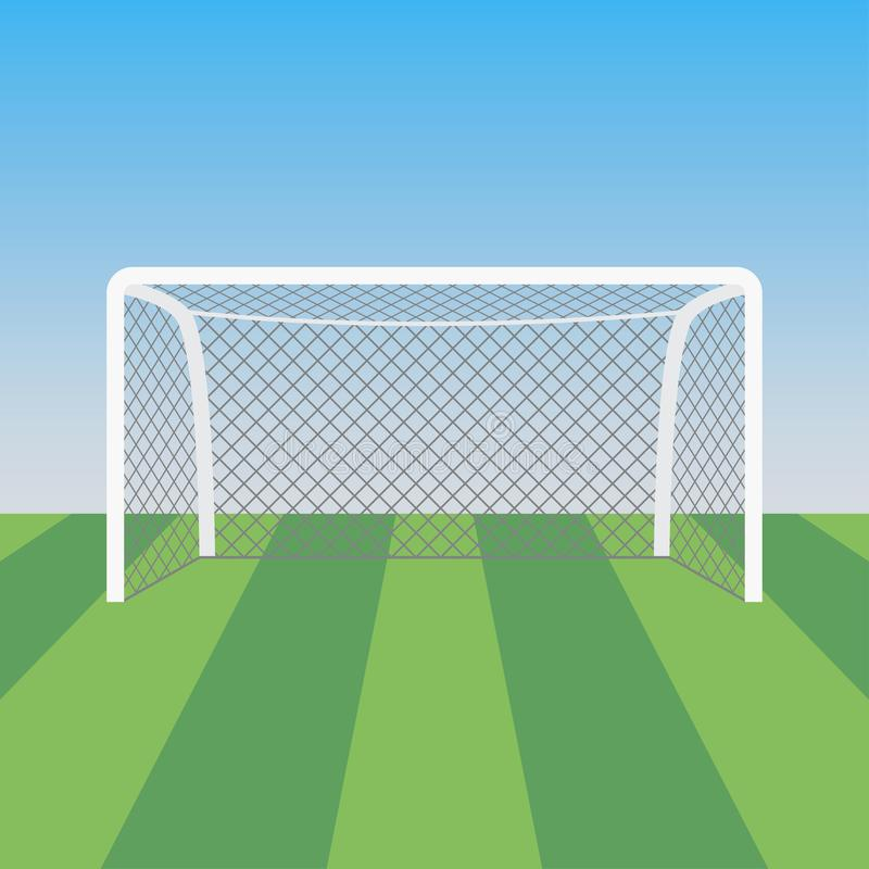 Voetbaldoel en gras in het voetbalstadion Vector illustratie stock illustratie