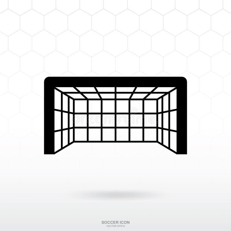 Voetbaldoel en netto pictogram De sportteken en symbool van de voetbalvoetbal vector illustratie
