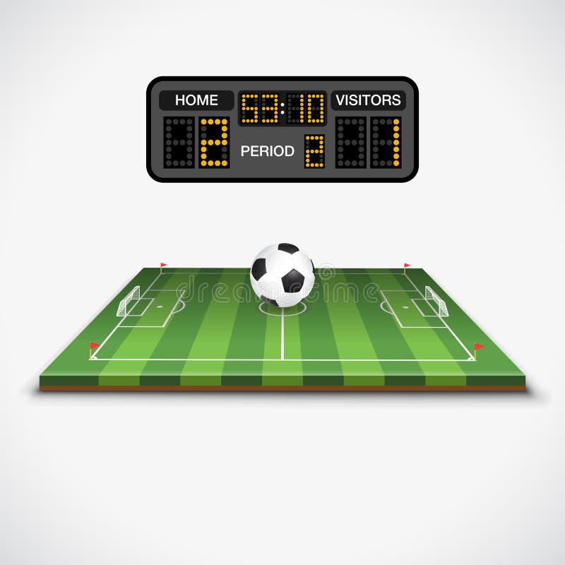 Voetbalgebied, Bal en Scorebord stock illustratie