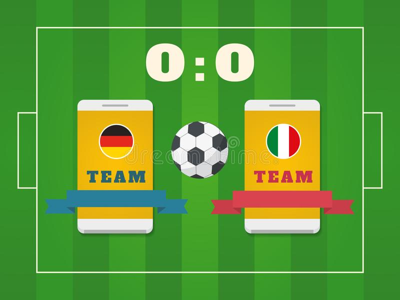 Voetbalgebied, bal, scorebord en smartphone met teams vector illustratie