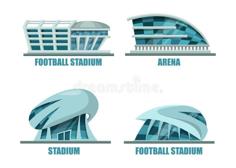 Voetbalgebied of de architectuur van het voetbalstadion royalty-vrije illustratie