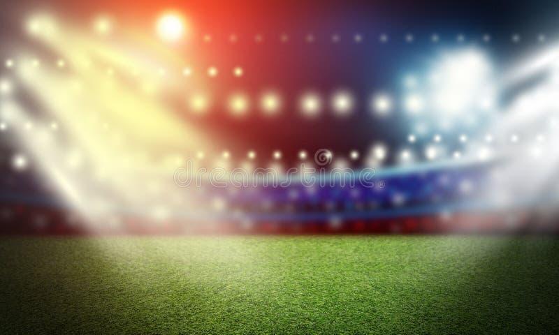 Voetbalgebied en schijnwerperachtergrond in het stadion stock fotografie