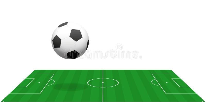 Voetbalgebied het Springen het Perspectiefweergeven van de Voetbalbal stock illustratie