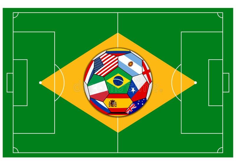 Voetbalgebied met bal - Brazilië 2014 stock illustratie