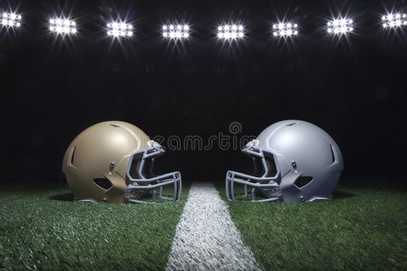 Voetbalhelmen die weg op een werflijn onder stadionlichten onder ogen zien stock illustratie
