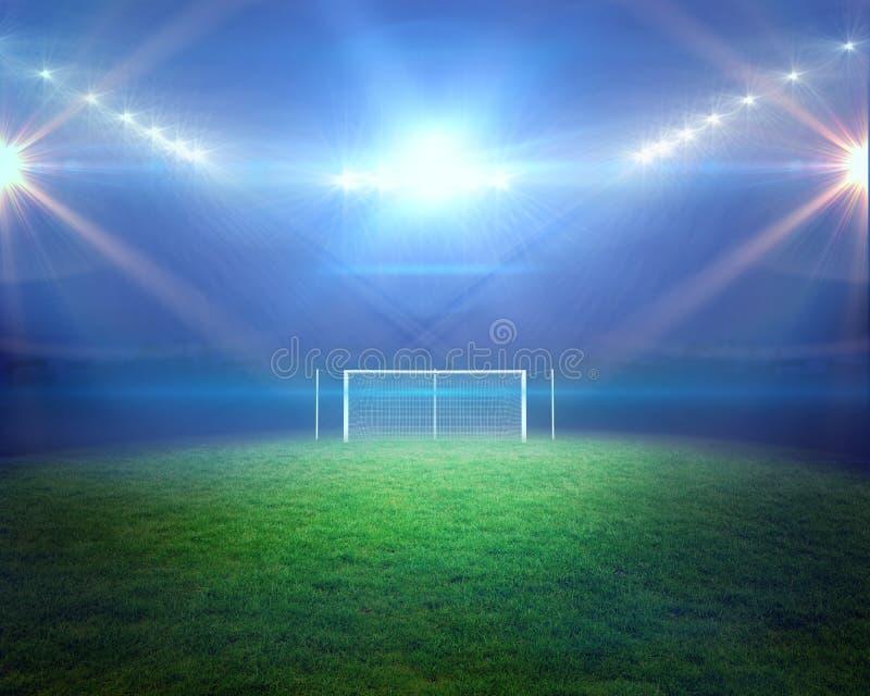 Voetbalhoogte met lichten en doelpaal royalty-vrije illustratie