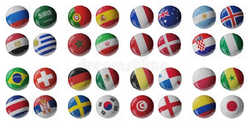 Voetbalkampioenschap 2018 Voetbal/voetbalballen vector illustratie