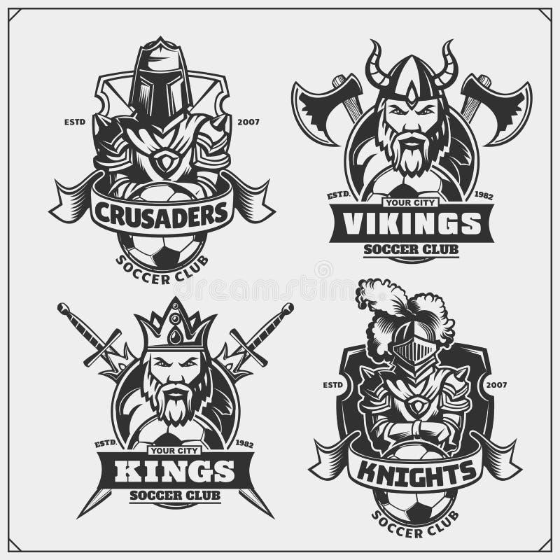 Voetbalkentekens, etiketten en ontwerpelementen De emblemen van de sportclub met koning, ridder, kruisvaarder en Viking royalty-vrije illustratie