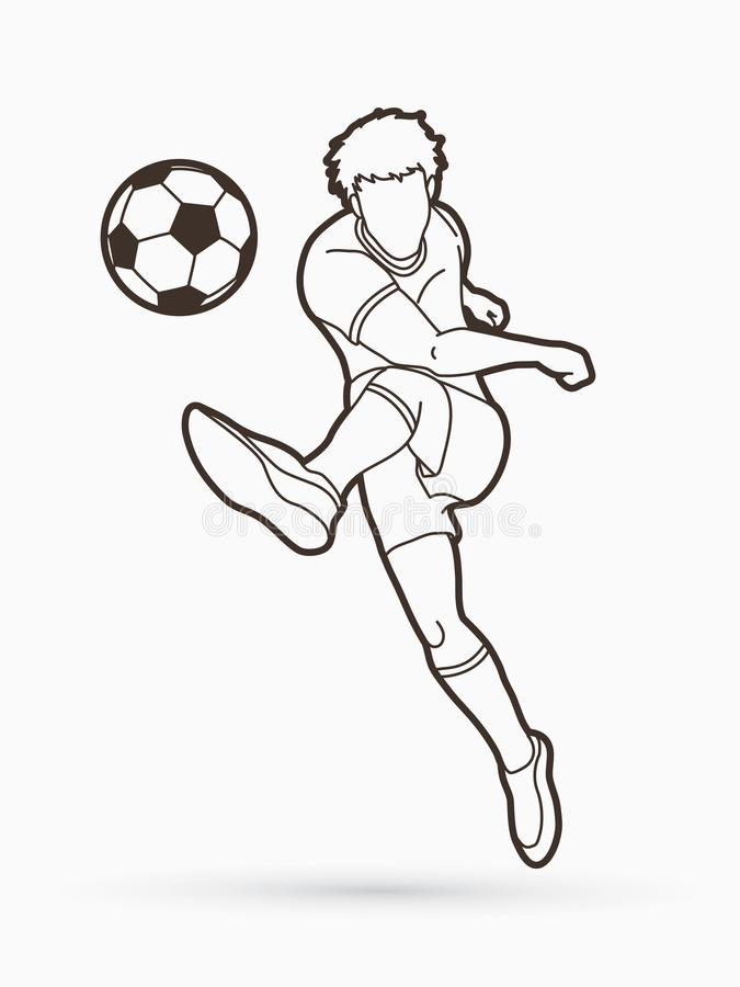 Voetballer die een bal schiet royalty-vrije illustratie