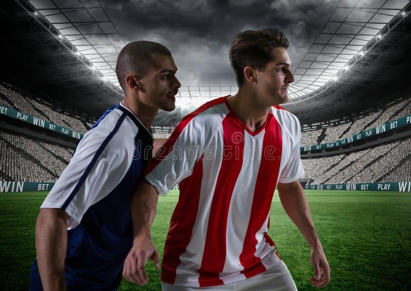 Voetballer die een voetbalgelijke spelen stock afbeelding