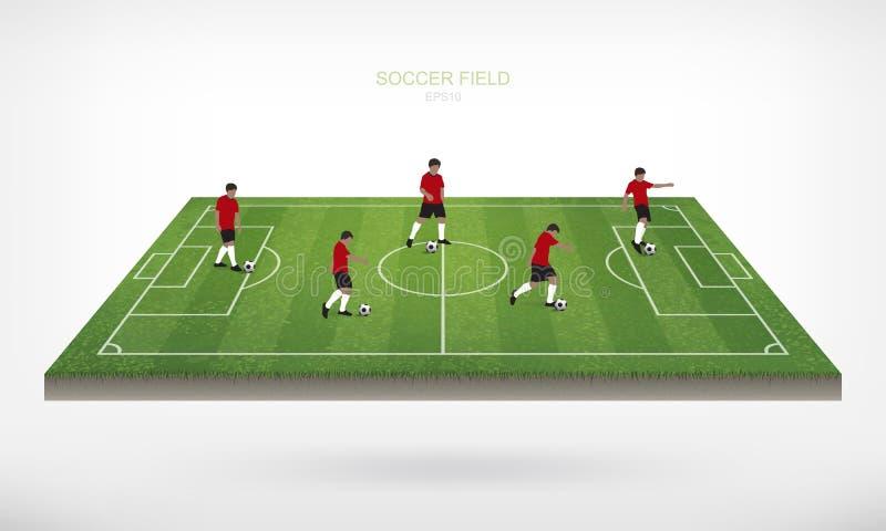 Voetballer en de bal van de voetbalvoetbal op gebied van voetbalgebied royalty-vrije illustratie