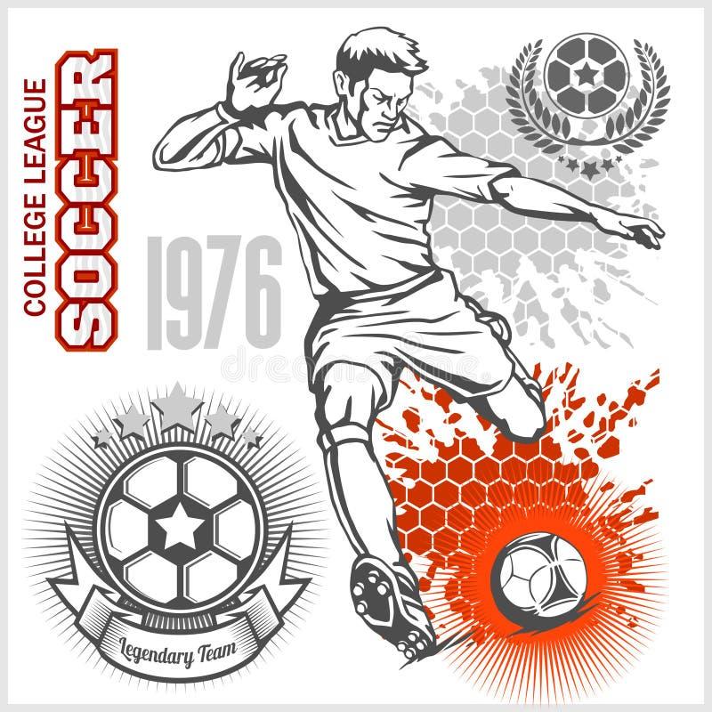 Voetballer het schoppen bal en voetbalemblemen vector illustratie
