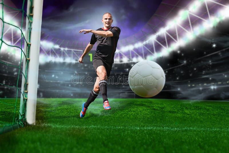 Voetballer met bal stock afbeeldingen