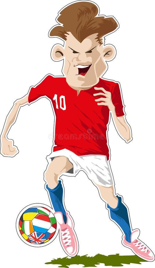 Voetballer met bal royalty-vrije illustratie