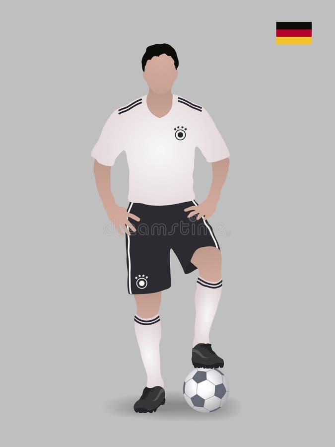 Voetballer met bal Nationaal de voetbalteam van Duitsland Vector illustratie stock afbeelding