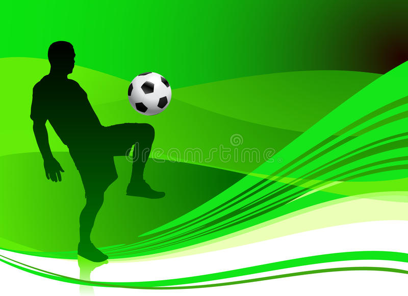 Voetballer op Abstracte Groene Achtergrond stock illustratie