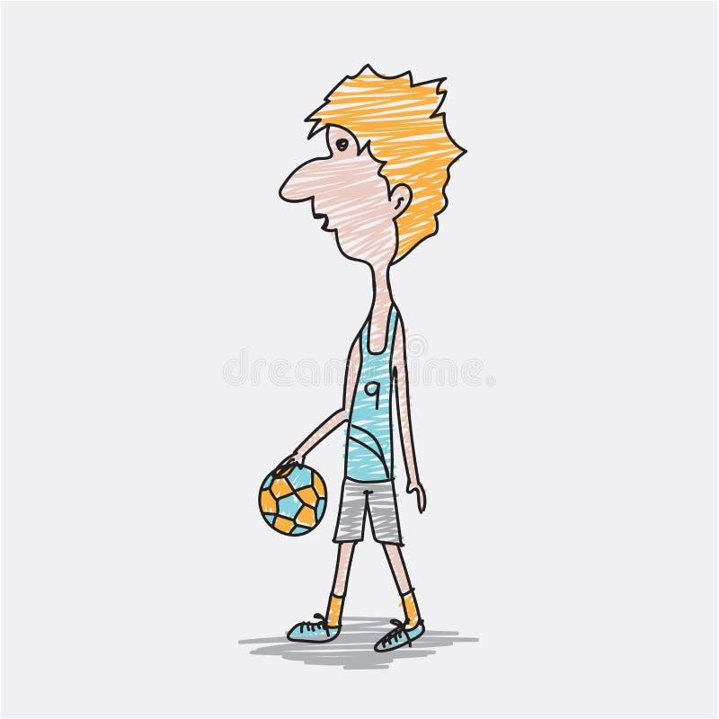 Voetballermannetje, het karaktervector van het Voetballersbeeldverhaal, hand getrokken stijl, de illustraties van het krabbelontw royalty-vrije illustratie