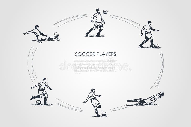 Voetballers - de mannelijke sportmannen in traditionele kleding in verschillend stelt met voetbalbal vectorconceptenreeks royalty-vrije illustratie