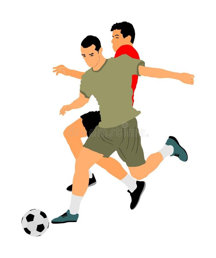 Voetballers in duel vectorillustratie Voetbalsterslag voor de bal en de positie royalty-vrije illustratie