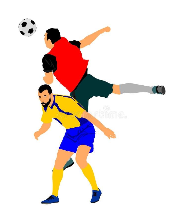 Voetballers in duel vectorillustratie Voetbalsterslag voor de bal en de positie stock illustratie