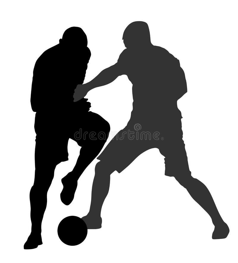 Voetballers in duel vectorsilhouetten Voetbalstersilhouet stock illustratie