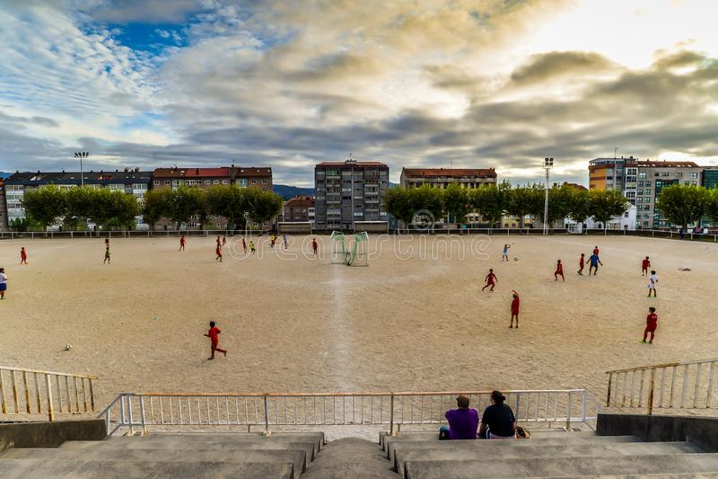 Voetbalpraktijk in Vigo - Spanje stock foto's