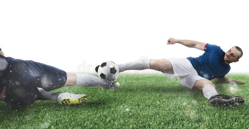 Voetbalsc?ne met concurrerende voetbalsters bij het stadion stock foto's