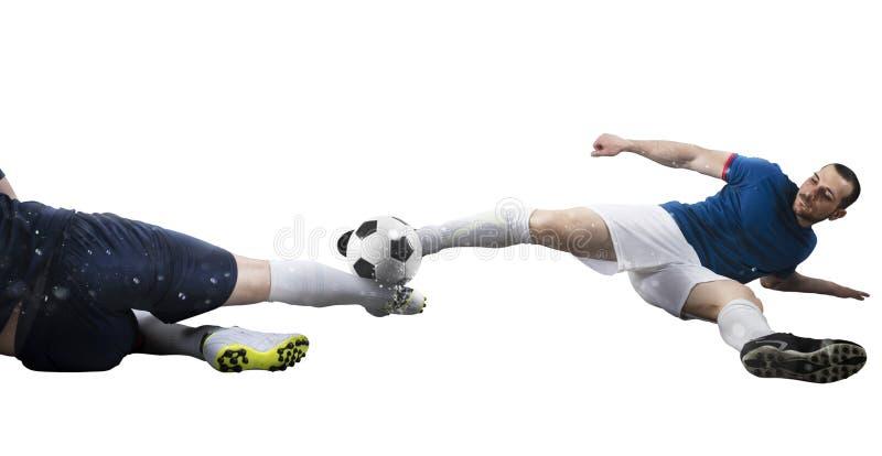 Voetbalsc?ne met concurrerende voetbalsters bij het stadion Ge?soleerdj op witte achtergrond stock foto