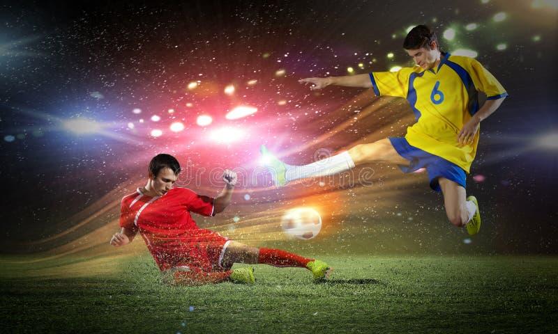 voetbalspel stock foto's