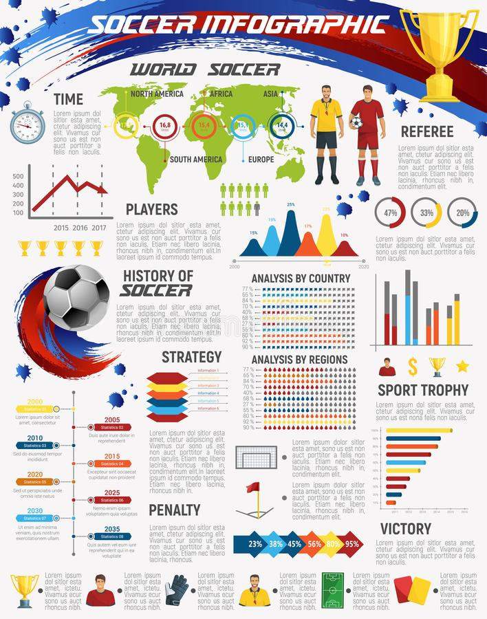 Voetbalspel en infographic de club van de voetbalsport stock illustratie