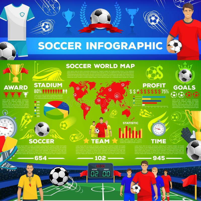 Voetbalspel infographic van de club van de voetbalsport vector illustratie