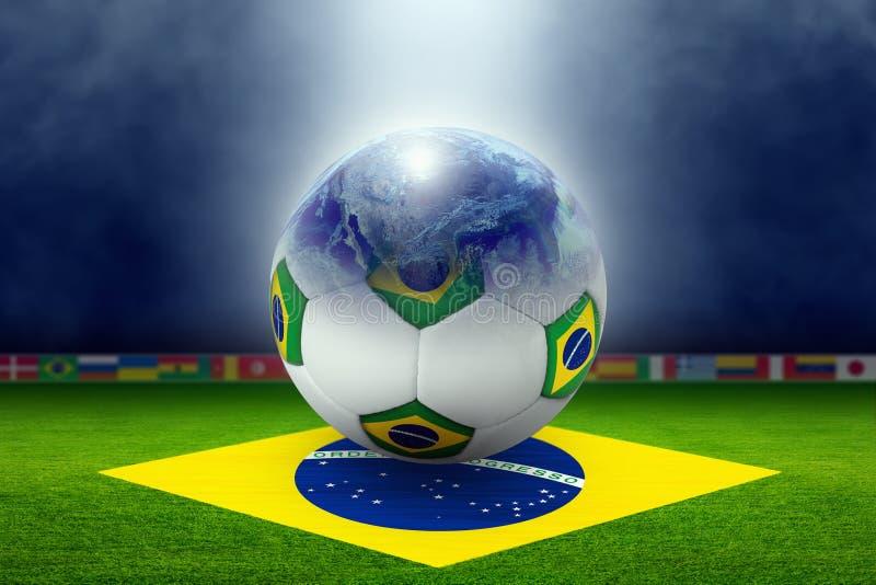 Voetbalstadion, bal, bol, vlag van Brazilië vector illustratie
