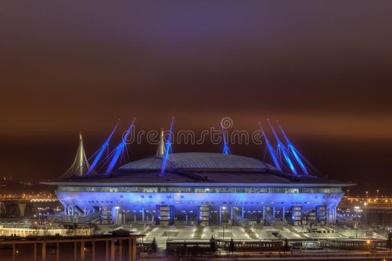 Voetbalstadion bij Nacht voor de Wereldbeker Rusland van FIFA van 2018 royalty-vrije stock foto's