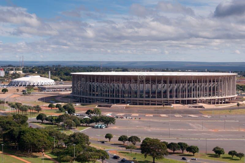 Voetbalstadion in Brasilia stock foto's