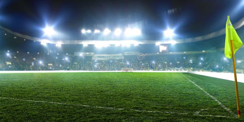 Voetbalstadion, hoekvlag, glanzende lichten stock foto's