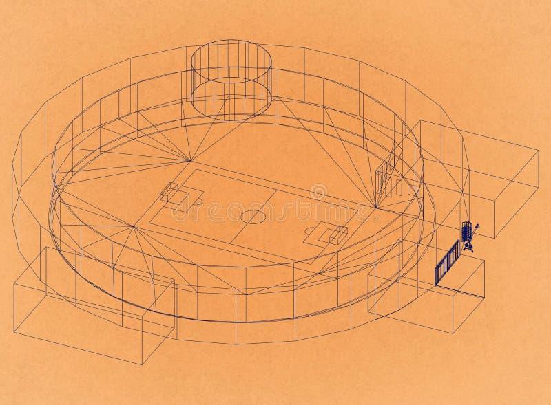 Voetbalstadion - Retro Architect Blueprint royalty-vrije illustratie