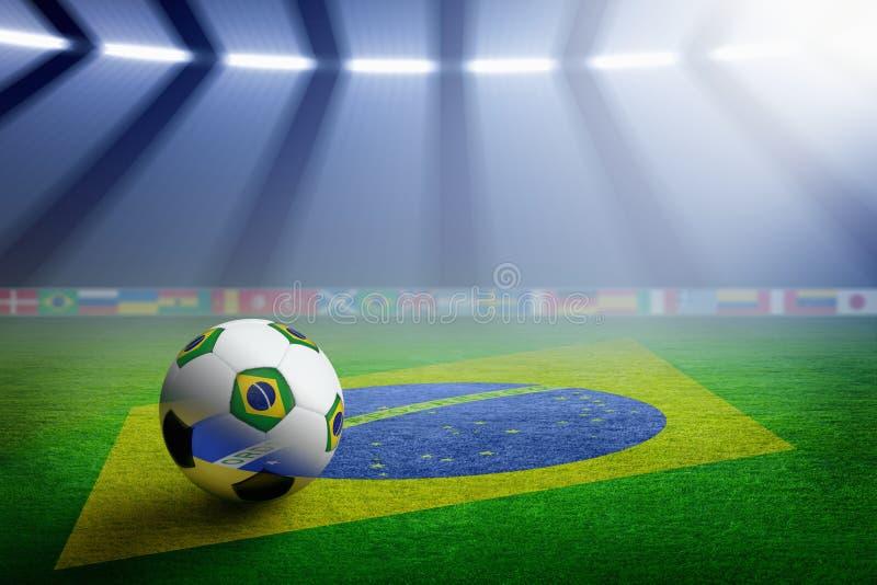 Voetbalstadion, vlag van Brazilië royalty-vrije illustratie