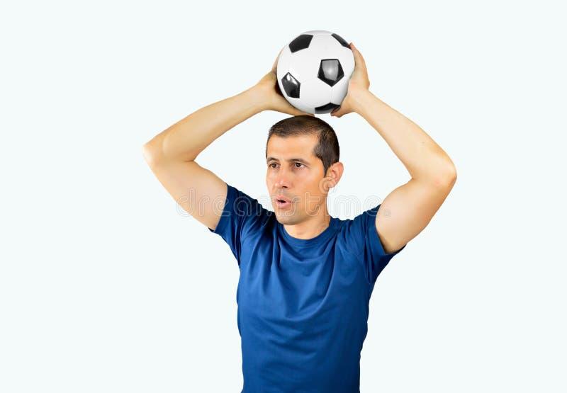 Voetbalster met de bal royalty-vrije stock fotografie