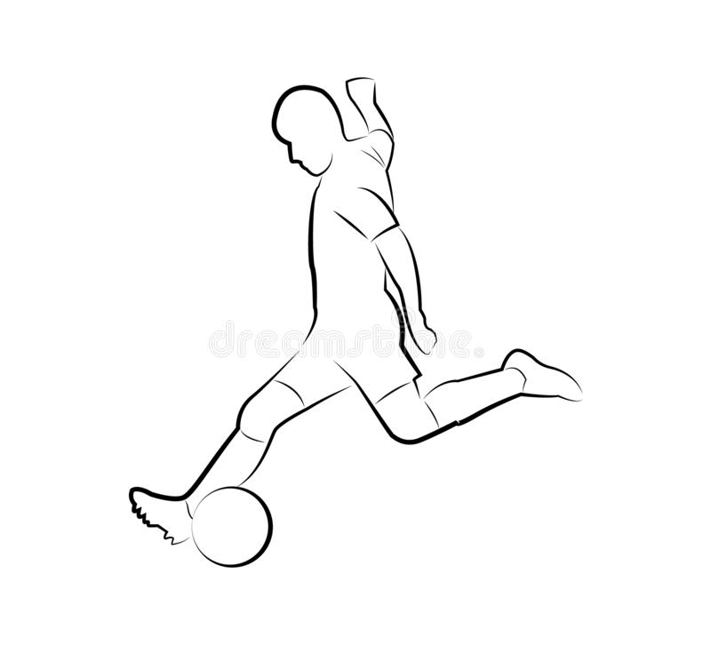 Voetbalster met de bal Contoursilhouet royalty-vrije illustratie