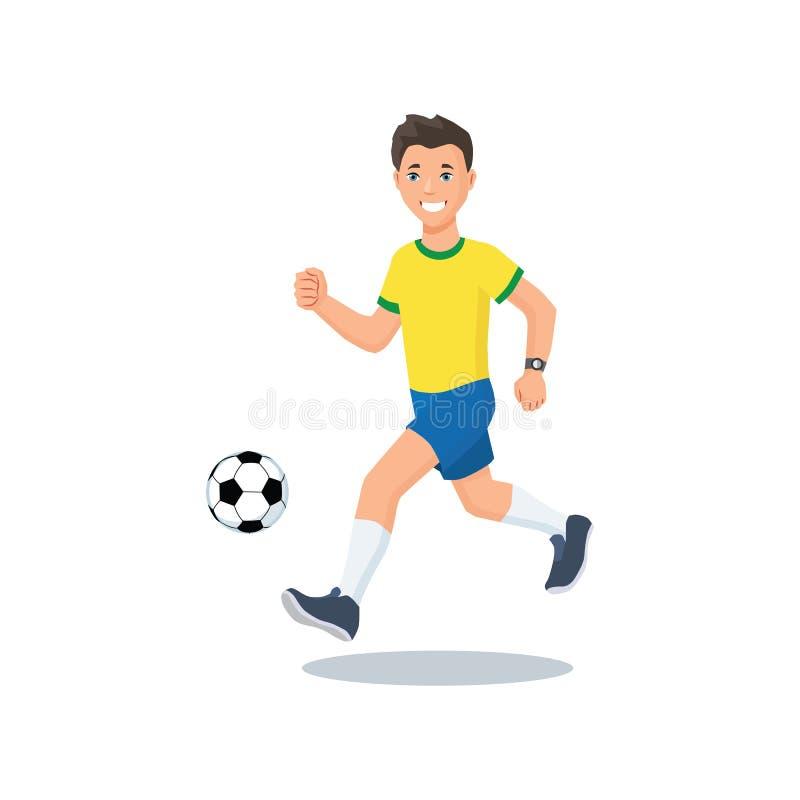 Voetbalsterlooppas met de bal royalty-vrije illustratie